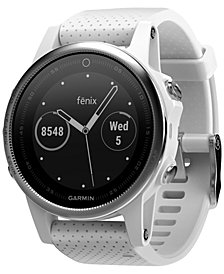 Garmin Unisex fenix® 5S White Silicone Strap GPS Touch Screen Smart Watch 42mm