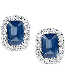 Sapphire (1-3/8 ct. t.w.) and Diamond (1/3 ct. t.w.) Stud Earrings in 14k White Gold