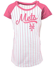 5th & Ocean New York Mets Pinstripe T-Shirt, Girls (4-16)