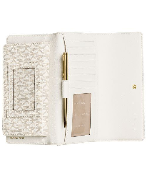 54f0ba183fbfb9 Michael Kors Signature Jet Set Item Checkbook Wallet & Reviews ...