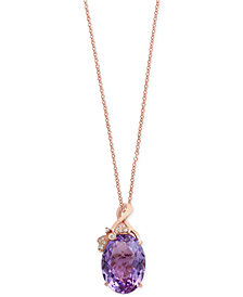 Viola by EFFY® Pink Amethyst (7-3/4 ct. t.w.) and Diamond Accent Pendant Necklace in 14k Rose Gold