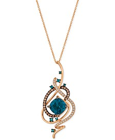 Exotics® Deep Sea Blue Topaz™ (5-3/8 ct. t.w.) and Diamond (3/4 ct. t.w.) Pendant Necklace in 14k Rose Gold
