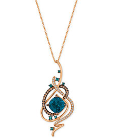Le Vian Exotics® Deep Sea Blue Topaz™ (5-3/8 ct. t.w.) and Diamond (3/4 ct. t.w.) Pendant Necklace in 14k Rose Gold