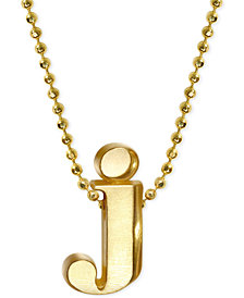 "Alex Woo Initial ""j"" Pendant Necklace in 14k Gold"
