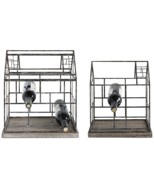 Set of 2 Metal Greenhouse Wine Holders