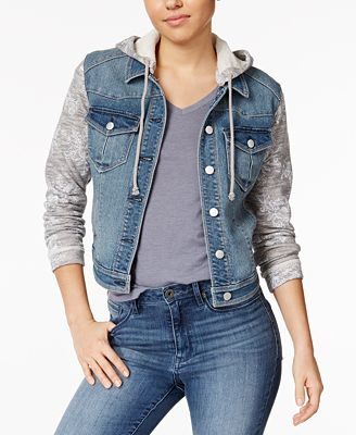 Tinseltown Juniors' Knit-Sleeve Hooded Denim Jacket - Juniors ...