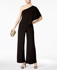 Adrianna Papell Petite Draped One-Shoulder Jumpsuit