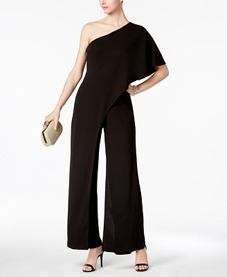 Adrianna Papell Petite Draped One-Shoulder Jumpsuit ...