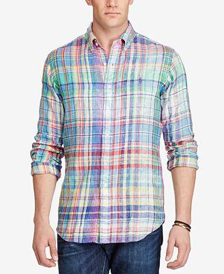 Polo Ralph Lauren Men's Big & Tall Plaid Linen Sport Shirt ...