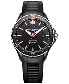 Baume & Mercier Men's Swiss Automatic Clifton Club Black Rubber Strap Watch 42mm M0A10339