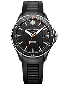 Baume & Mercier Men's Swiss Automatic Clifton Club Black Rubber Strap Watch 42mm M0A10339