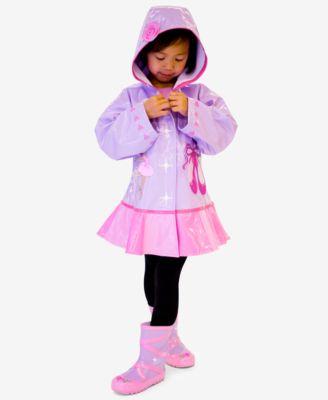 Kidorable Little Girls Lilac Pink Ballerina Heart Hooded Rain Coat 2T-6X