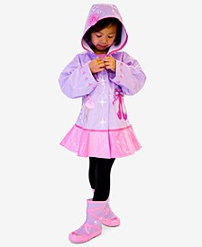 Hooded Ballerina Raincoat, Toddler Girls