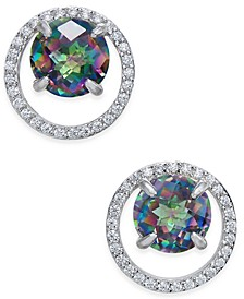 Mystic Topaz (1-3/4 ct. t.w.) and Diamond (1/6 ct. t.w.) Circle Stud Earrings in Sterling Silver