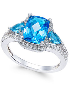 Swiss Blue Topaz (2-5/8 ct. t.w.) and White Topaz (1/4 ct. t.w.) Ring in Sterling Silver