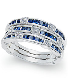Sapphire (2 ct. t.w.) and Diamond (1/4 ct. t.w.) Stack-Look Ring in 14k White Gold