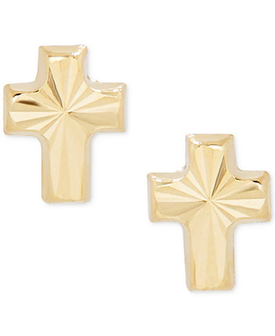 Children's Textured Cross Stud Earrings in 14k Gold