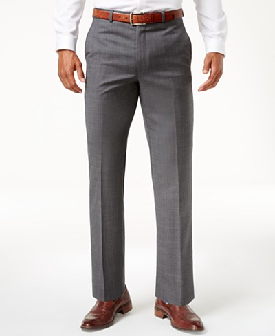 Lauren Ralph Lauren Grey Sharkskin Ultraflex Classic Fit Dress Pants