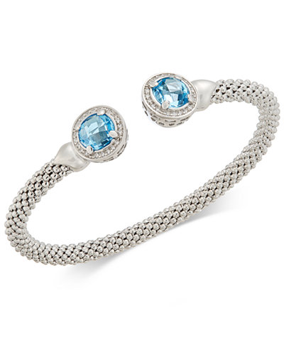 Blue Topaz (4-1/2 ct. t.w.) & Diamond (1/3 ct. t.w.) Mesh Cuff Bracelet in Sterling Silver