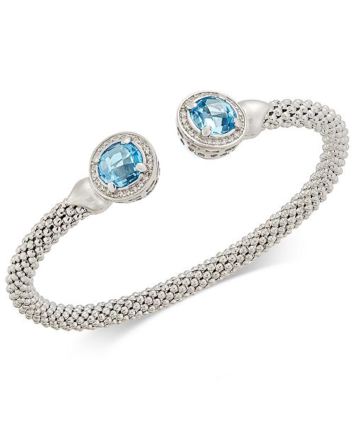 Macy's Blue Topaz (4-1/2 ct. t.w.) & Diamond (1/3 ct. t.w.) Mesh Cuff Bracelet in Sterling Silver