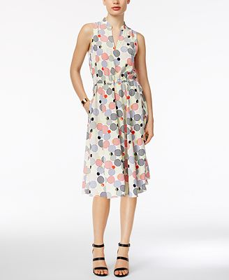 Anne Klein Printed Drawstring Fit & Flare Dress