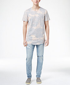 Jaywalker Men's Gray Tie-Dyed Curved-Hem T-Shirt and Stretch Ripped Jeans, Created for Macys