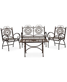 Delfina Outdoor 4-Pc. Seating Set (1 Loveseat, 2 Chairs & 1 Coffee Table), Quick Ship