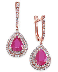 Certified Ruby (5 ct. t.w.) & White Sapphire (1 ct. t.w.) Drop Earrings in 14k Rose Gold, Created for Macy's