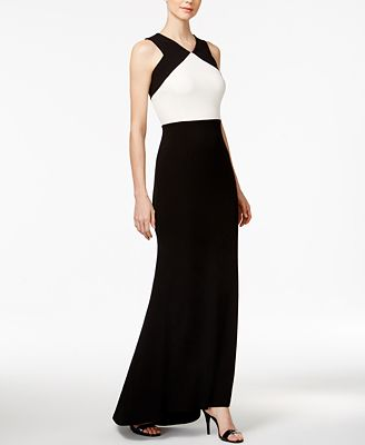 Calvin Klein Open-Back Colorblocked Crepe Gown