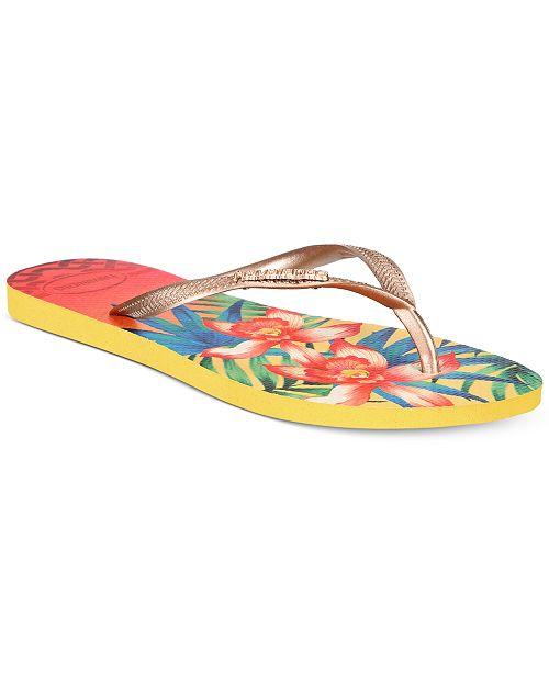 08a1f7d9b9b0 Havaianas Women s Slim Tropical Flip-Flops   Reviews - Sandals ...