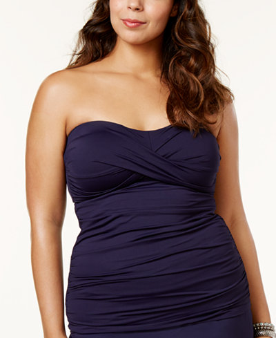Anne Cole Plus Size Twist-Front Tankini Top