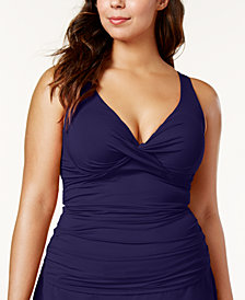 Anne Cole Plus Size Ruched Tankini Top