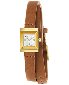 Gucci G-Frame Women's Brown Leather Double Wrap Strap Watch 14x18mm YA128521