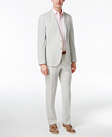 Nick Graham Men's Slim-Fit Stretch Sage and White Seersucker Suit