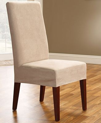 Sure Fit Soft Faux Suede Short Dining Room Chair Slipcover ...