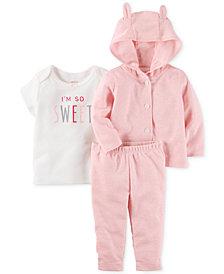 Carter's 3-Pc. So Sweet T-Shirt, Hoodie & Pants Set, Baby Girls