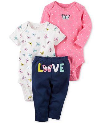 Carter's 3-Pc. Butterfly Love Bodysuits & Pants Set, Baby Girls