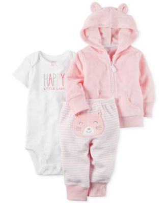 Image of Carter's 3-Pc. Hoodie, Happy Bodysuit & Cat Pants Set, Baby Girls (0-24 months)