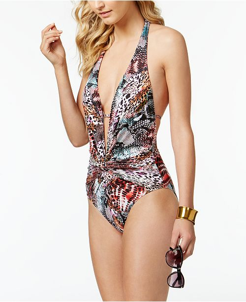 d065edf7c168f ... Kenneth Cole Pure Instincts Printed Twist Plunging Tummy-Control One-Piece  Swimsuit ...