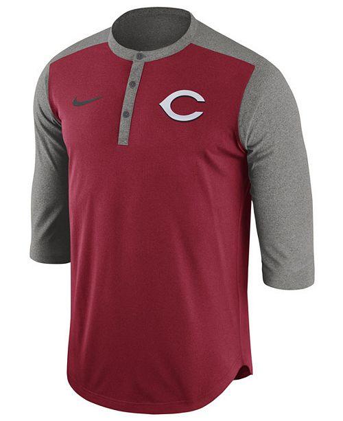 acda097bc ... Nike Men's Cincinnati Reds Dri-Fit 3/4 Sleeve Henley T-Shirt ...
