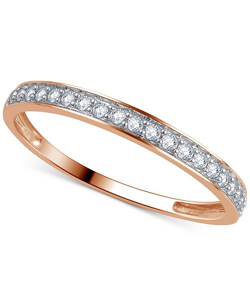 Macy's Diamond Wedding Band (1/5 ct. t.w.) Ring in 14k Gold, White Gold or Rose Gold