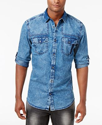 INC International Concepts Men's Denim Shirt, Created for Macy's ...