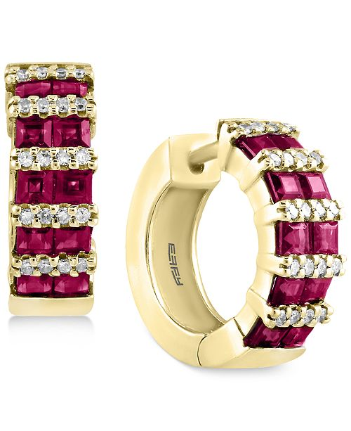 EFFY Collection Amoré by EFFY® Certified Ruby (1-9/10 ct. t.w.) and Diamond (1/5 ct. t.w.) Hoop Earrings in 14k Gold