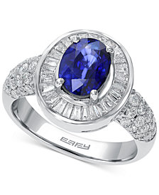 Royalé Blue by EFFY® Sapphire (1-3/8 ct. t.w.) and Diamond (9/10 ct. t.w.) Ring in 14k White Gold