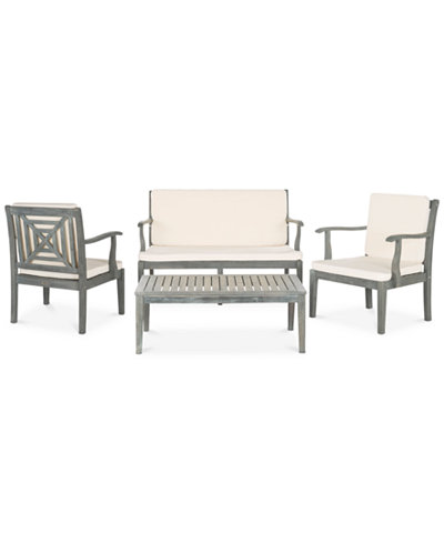 Aimie Outdoor 4-Pc. Seating Set (1 Loveseat, 2 Chairs & 1 Coffee Table), Quick Ship