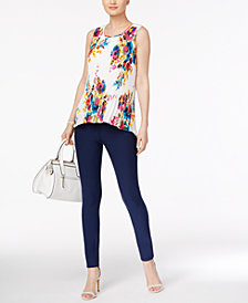 Cable & Gauge Floral-Print Pleated Top & ECI Straight-Leg Pants