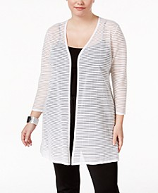 Plus Size Illusion-Stripe Cardigan, Created for Macy's
