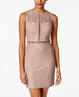 City Studios Juniors' Glitter Lace Bodycon Dress