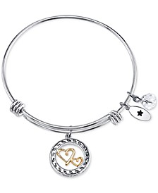 Two-Tone Double Heart Mother Daughter Charm Bangle Bracelet in Stainless Steel