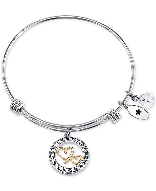 Unwritten Two-Tone Double Heart Mother Message Charm Bangle Bracelet in Stainless Steel